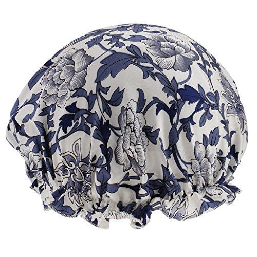 Chapeau De Couchage Unisexe Nuit Bonnet De Sommeil Longs Cheveux Bouclés Styling Satin Bonnet - Fleur bleue