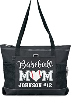 Baseball Mom Sports Tote with a Player's Name in Silver Glitter or Soft Solid White on a Black Tote (nh)