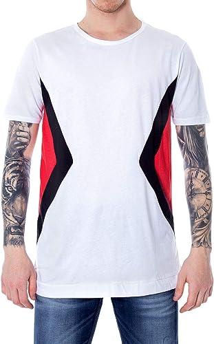Hydra Clothing Homme GEOMETRICblanc Blanc Coton T-Shirt