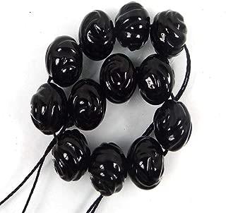 Black Onyx Carved Rose Round Beads