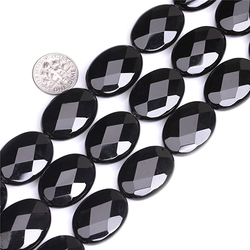 JOE FOREMAN 18X25mm Black Agate Semi Precious Gemstone Oval Faceted Loose Beads for Jewelry Making DIY Handmade Craft Supplies 15