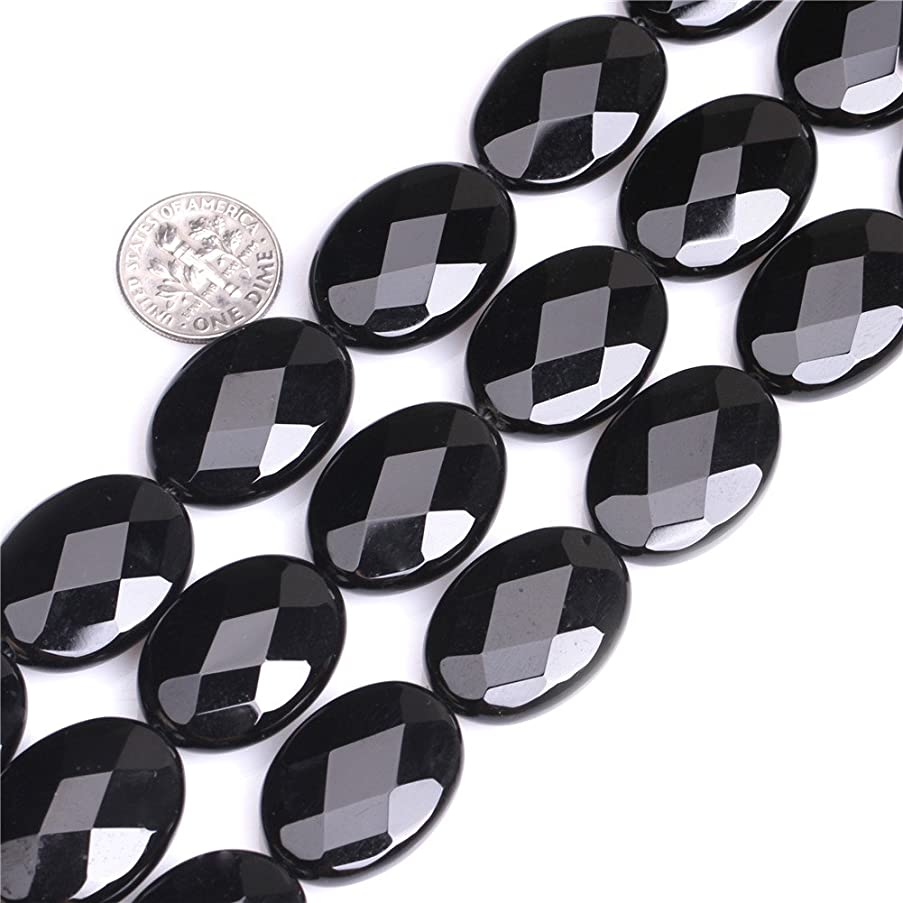Sweet Happy Girl's 18x25mm Oval Faceted Black Agate Strand 15 Inch Jewelry Making Beads