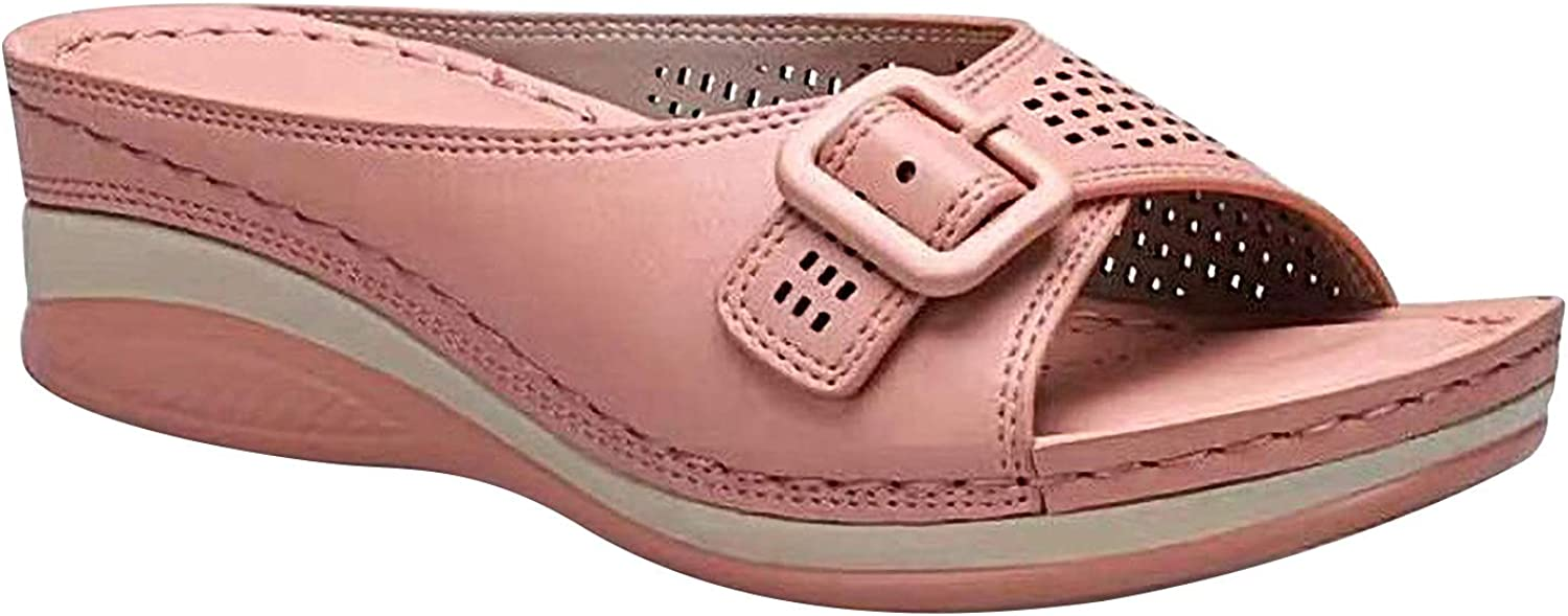 Wedge Sandals for Women Casual Summer Slip On Sandals Breathable Comfortable Buckle Strap Slides