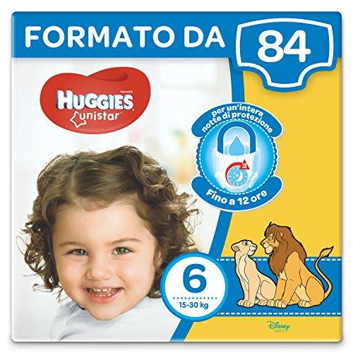 Huggies Unistar Pannolini, Taglia 6 (15-30 kg), Confezione da 84 Pannolini