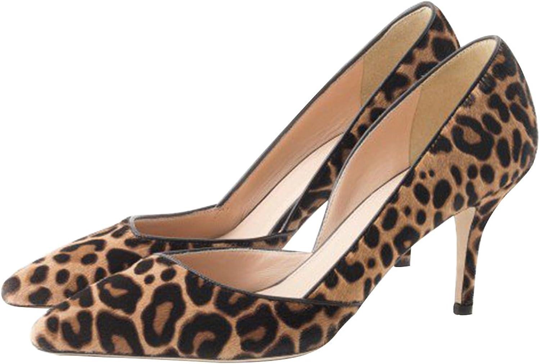 FSJ Women Leopard Print shoes Heels Pointy Toe Sky High Pumps Size 4-15 US