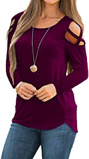 Women's Short Sleeve Cold Shoulder Tops Summer Shirts Crew Neck Casual T-Shirts Tunic