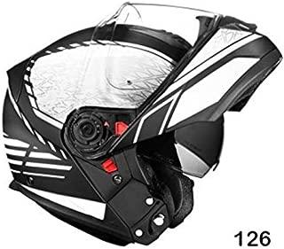 SMK Glide Flip Up Designer Helmet, SIGN MA216, Matt Black with White, L - 59 Cms, Plain Visor