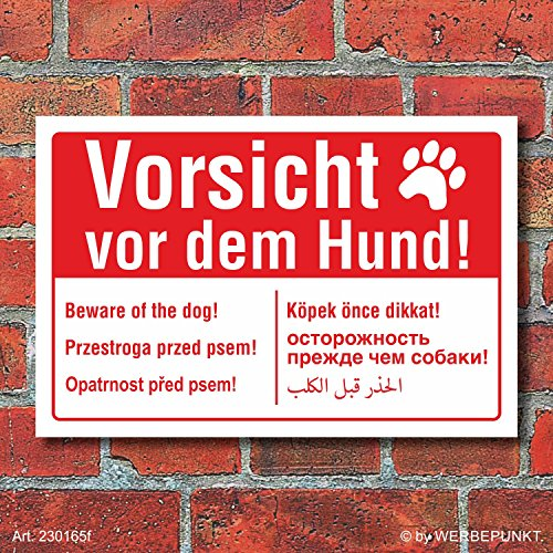 Schild Vorsicht vor dem Hund mehrsprachig englisch polnisch arabisch Alu-Verbund 300 x 200 mm