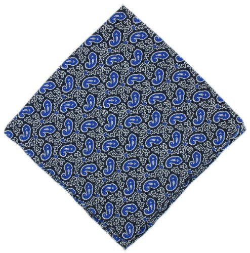 Mouchoir bleu Petit Paisley Silk de Michelsons of London