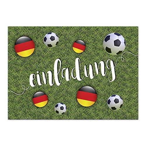 15 x Einladungskarten (Fussbälle und Fahne auf Rasen) im Postkarten Format mit Umschlag/Fussball/WM/Party/Feier/Einladung