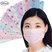 50 PCS Disposable Face Mask Printed Earloop Dust Mask Cute Mouth Cover Mask for Adults