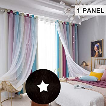 "Decdeal Star Curtains Stars Blackout Curtains for Kids Girls Bedroom Living Room Colorful Double Layer Star Window Curtains, 1 Panel (53""W x 85""L,Pink)"