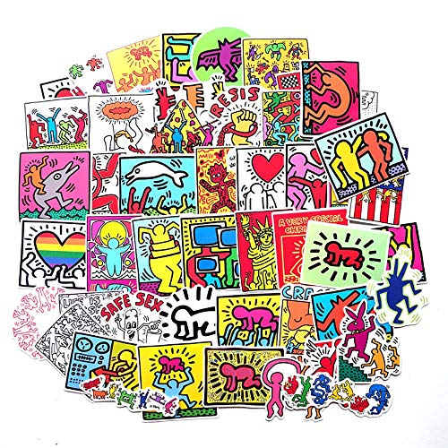 MNHG 50pcs Artista di Strada Keith Haring Adesivi dei Cartoni Animati Bagagli da Viaggio Chitarra Skateboard Adesivo Impermeabile Giocattolo Classico per Il Regalo del Bambino, Keith Haring