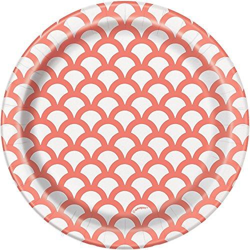 Unique Party- Paquete de 8 platos de papel con diseño de concha, Color rosa coral, 18 cm (37214)