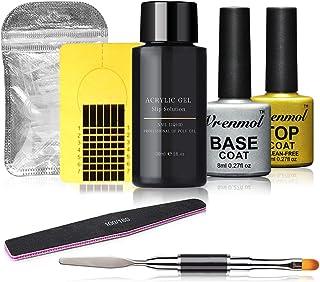 Vrenmol Poly Nail Gel Tools Quick Top Coat Base Coat Building Poly Builder UV Gel Tools Kit Finger Extension Tips Mold DI...