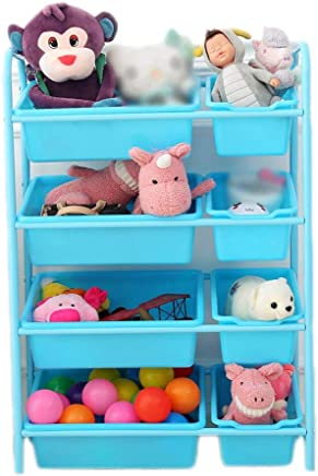 Ljleey-HO Toy storage rack Blue Toy Storage Organiser Cart With Wheel And Removable Plastic Bins  Color Blue  Size 28 5 90cm