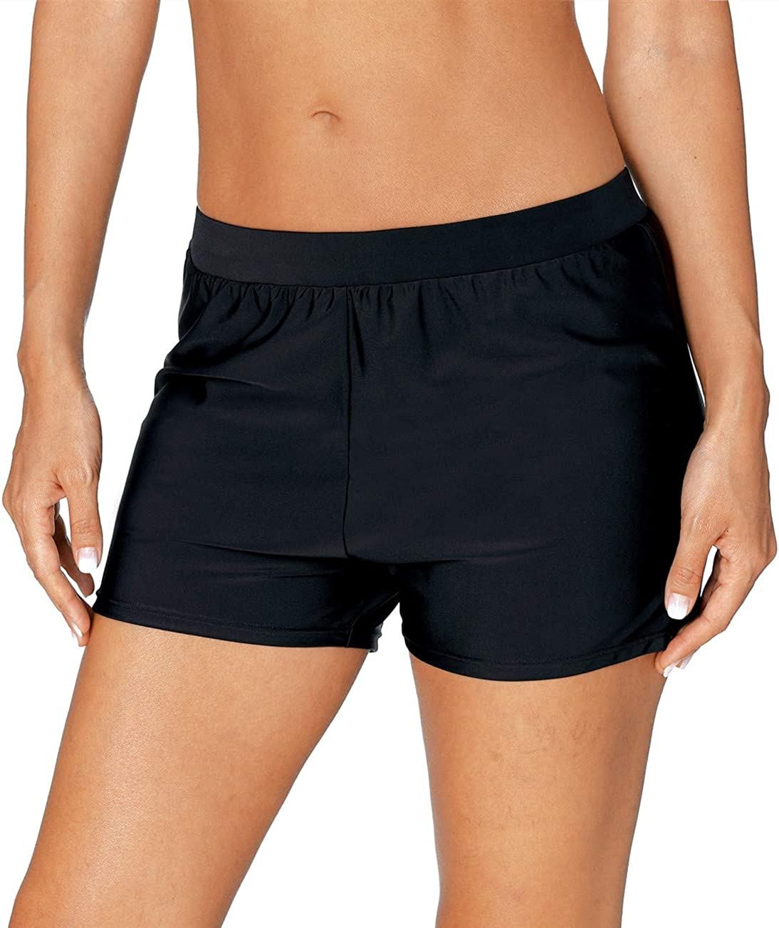 Eytino Women Solid Lace Hollow Out Swim Shorts Stretch Board Shorts Swimsuit Bottoms,Large Black