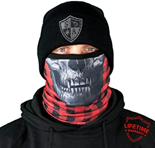 SA Company Fleece Face Shield Works as a Balaclava, Neck Gaiter for Hunting, Snow Boarding, Cycling and Riding. Keep Warm in Cold Weather. Salt Lovers Avoid the Frost of Winter. - Red Lumberjack Skull