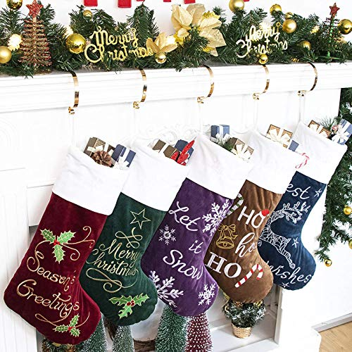 GEX Christmas Stockings 5 Pack for Family 22' Embroidery Classic Luxury Velvet Large Hanging Ornament Decorations for Fireplace Xmas Tree Holiday Party (Set of 5)