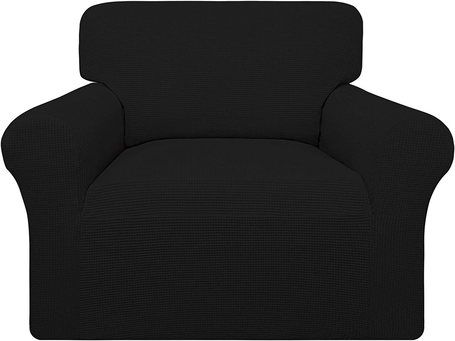 Easy-Going 100% Waterproof Chair Couch Cover, Dual Waterproof Sofa Cover, Stretch Jacquard Sofa Slipcover, Leakproof Furniture Protector for Kids, Pets, Dog and Cat (Chair, Black)