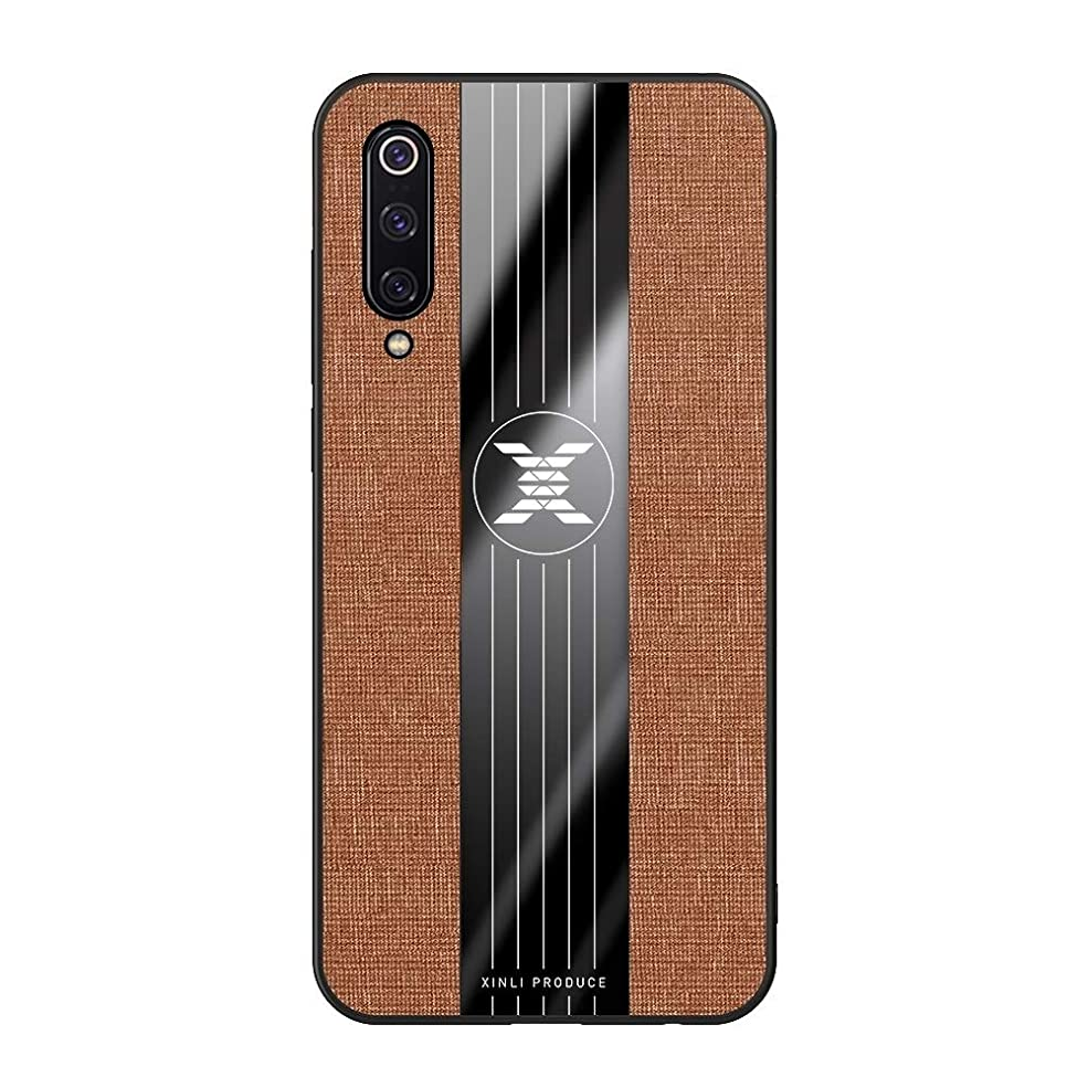 十分にくすぐったい高尚な小米科技ミ9ステッチ布Textue耐震性TPU保護ケースのために brand:TONWIN (Color : Brown)