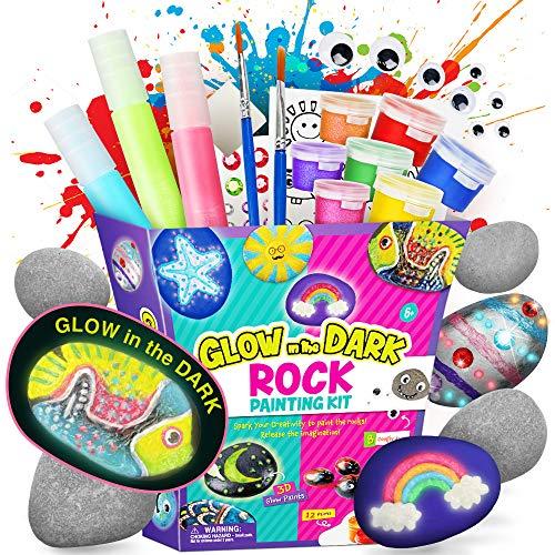 Dr. Daz Nachtleuchtendes Steine Bemalen Kinder Set Steine Bastelsets Malset Für Kinder Kunsthandwerk Set Geschenke Für Junge Mädchen Ab 7 8 9 10 Jahre