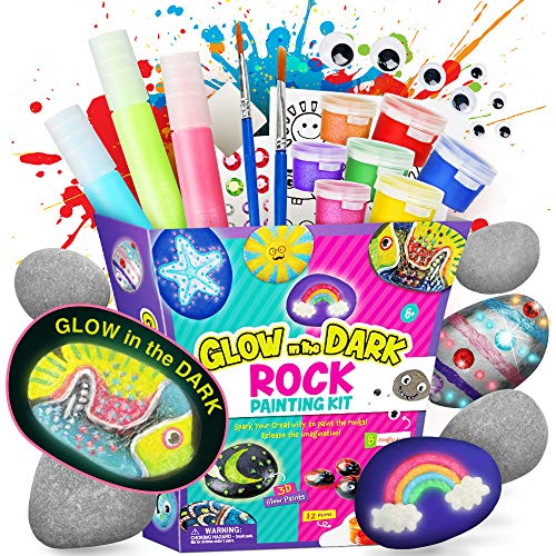 Dr. Daz Rock Painting Kit for Kids - Arts and Crafts for Girls & Boys - Glow in the Dark Rock Painting - Craft Art Kit -Hide and Seek Activities, Great Craft Creative Gift for Ages 6-12