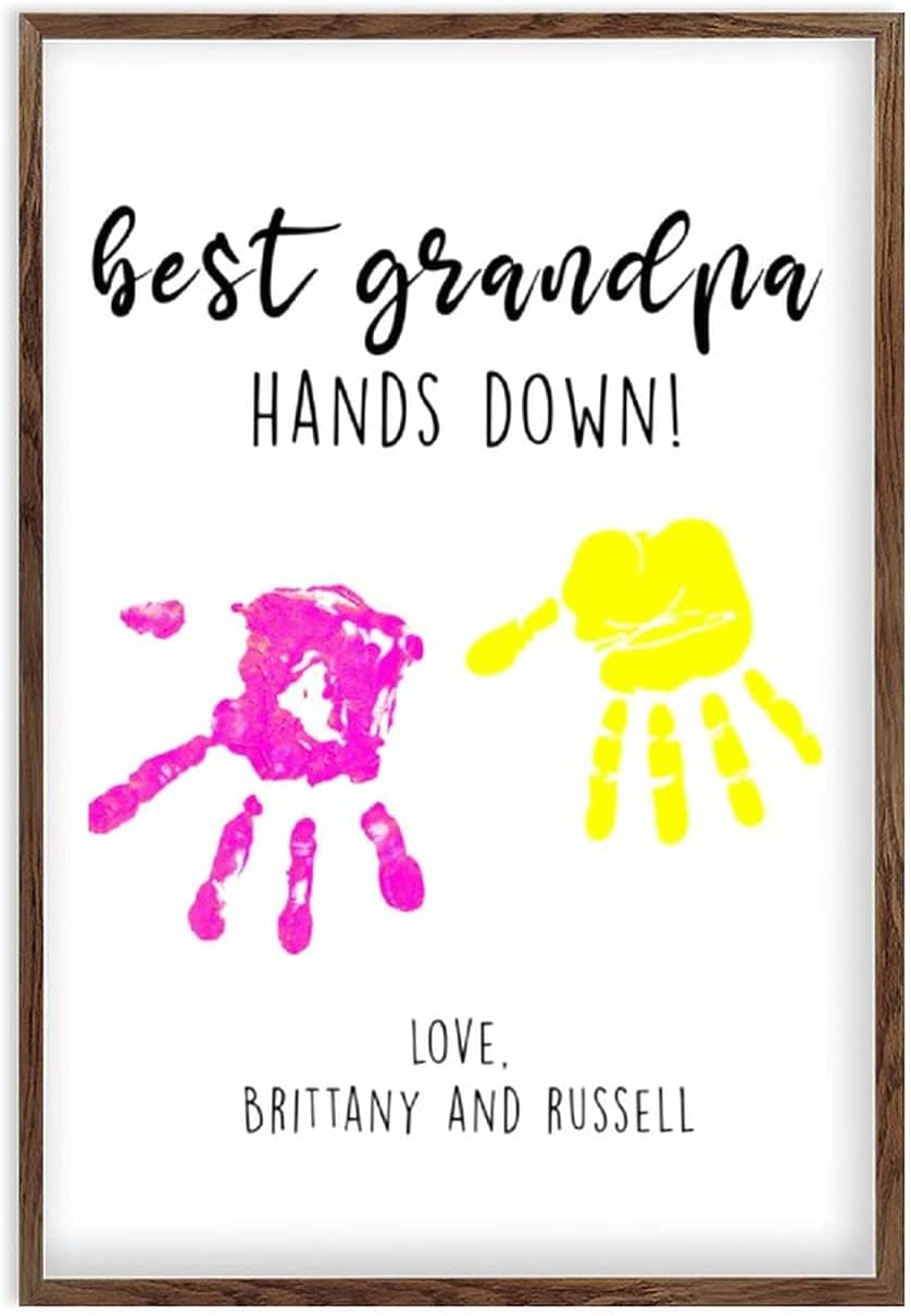 Framed Year-end annual account Over item handling Grandpa Father's Day Wooden Handprint Gi Sign DIY
