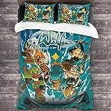 Juego de ropa de cama de 3 piezas de 218 x 177 cm, juego de edredón Wa-Kfu con 2 fundas de cojín coloridas para habitación de huéspedes de hombre.