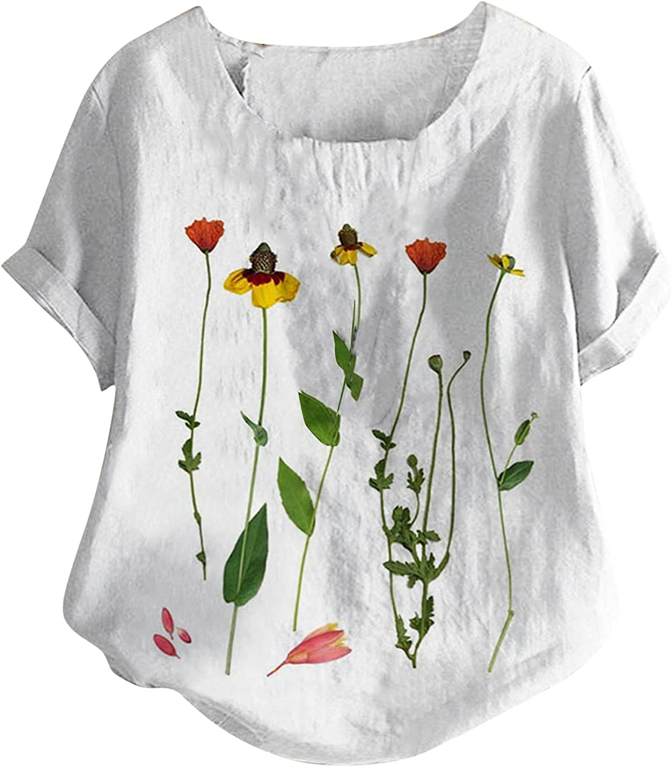 Graphic Tees for Women,Women's Short Sleeve Cotton Linen Shirt Floral Graphic Tops Casual Summer Boatneck Tee Shirts