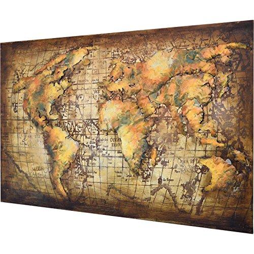 MÖBEL IDEAL 3D Metallbild Weltkarte Wandbild 120 x 80 cm Bild Erde aus Metall in Handarbeit Earth