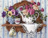 ZXlDXF Kit de pintura al óleo por números, tetera de flores para decoración de la pared del hogar, lona para adultos, principiantes, regalo, manualidades, 40,6 x 50,8 cm
