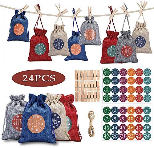 24 Stück Adventskalender zum Befüllen Stoffbeutel | Weihnachten Geschenksäckchen mit Zahlen...