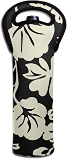 JIAU HUA Floral Crochet Fashion Portable Single Bottle Wine Tote Holder with Secure Carry Handle Bottle Wine Carrier for Party/Travel Carrying Wine