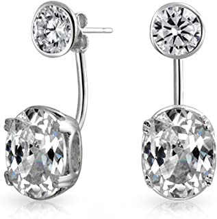 Fashionable Bridal 2CT Solitaire AAA CZ Cubic Zirconia Front Back Ear Jacket Stud Earrings For Women Gold Tone Sterling