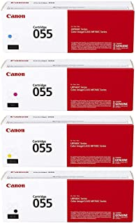Canon CRG 055 Standard Capacity Toner Cartridge for MF743 & MF741 Printers, Bundle with Black/Cyan/Magenta/Yellow