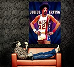 Julius Erving Dr. J Awesome Vintage Retro Painting Pop Art New York Nets Basketball 47x35 Huge Giant Poster Print