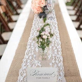 78Henstridge Chemin de Table en Toile de Jute avec Dentelle, Ruban de Jute Naturel, décoration de Table Vintage de Mariage...