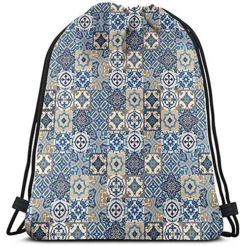 Bolsa de cordón con cordón de cordón, mochila con patrón de azulejo tradicional portugués, rizos orientales, deportes, mochila de viaje, bolsas de gimnasio