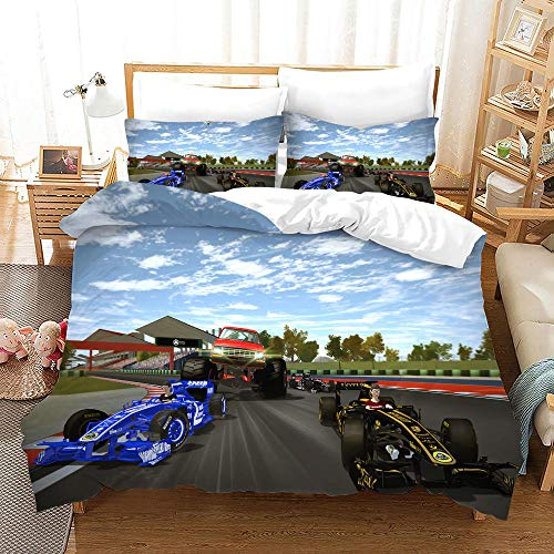BFSOC 3D Printed Bedding Set Duvet Cover Set Blue Kart Racing with 2 Pillowcases Microfiber Quilt Cover with Zipper Closure 53.15 X 78.74 inch