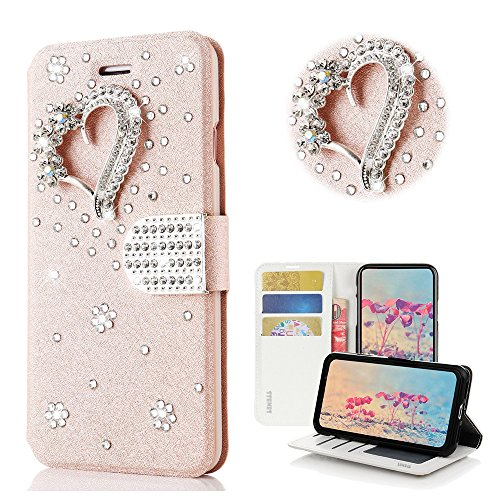 STENES Bling Wallet Phone Case Compatible with OnePlus Nord N10 5G Case - Stylish - 3D Handmade Pretty Heart Design Leather Cover Case with Screen Protector & Neck Strap Lanyard - Pink