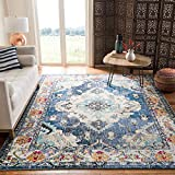 Safavieh Monaco Collection MNC243F Bohemian Chic Medallion Distressed Area Rug, 5' 1' x 7' 7', Navy/Light Blue