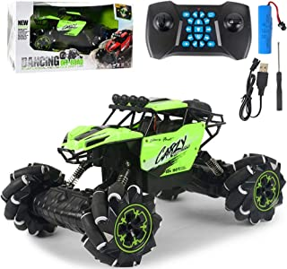 AIOJY Four-Wheel Drive Charging High-Speed Lateral Drift Climbing Car Lights Music Off-Road Dancing Remote Control Car Ramp Racing Toy, Children's Best Birthday (Color : Green)