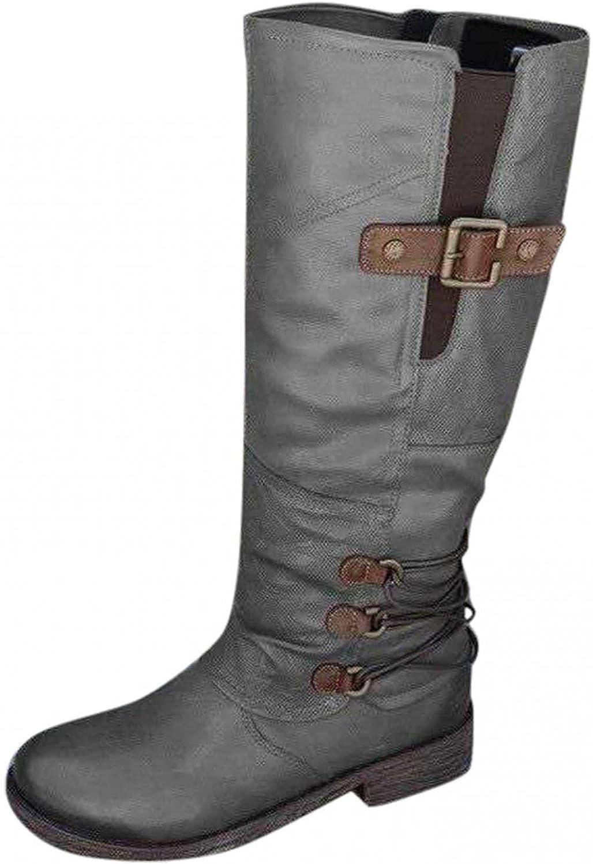 Hemlock Women Retro Boots Flat Heel Mid Calf Boots High Tube Rider Boots Winter Waterproof Boots Shoes
