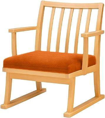オリバー ダイニング 座椅子 木製 ビニールレザー張り ナチュラル×オレンジ (S・CZ-501A・NB+CL-26J)