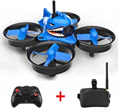 Glumes Shark Hunting Mini FPV Racing Drone + FPV Goggles - 013pro 5.8G 40CH Quadcopter Camera Gift for Adults + Kids |American Warehouse Shipment (blue)