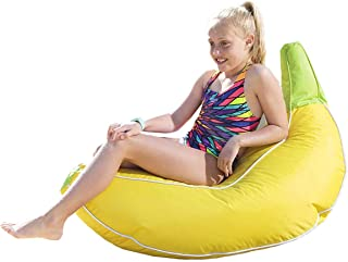Rickety Rock Bean Bag Chair for Kids - Stuffed Animal Storage, Bean Bag Cover for Child Indoor Outdoor Waterproof Polyester, Banana