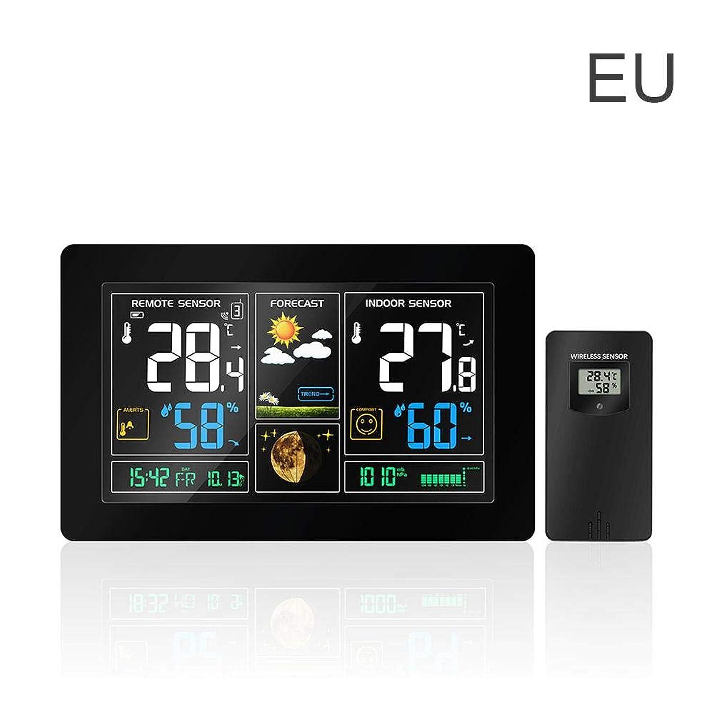 突き出す拘束する村多機能時計、カラー大画面ワイヤレスラジオ多機能電子アラーム温度湿度カレンダーカラー大画面天気