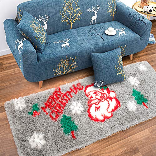 Rostyle Fluffy Christmas Rugs Santa Claus Christmas Bedroom Rug Plush Shaggy Runner Rug with Non Slip Backing, Shag Christmas Doormat Xmas Holiday Decor Carpets for Bedside, 2 ft x 6 ft