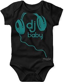 Mikalino Babybody mit Spruch für Jungen Mädchen Unisex kurzarm DJ Baby | handbedruckt in Deutschland | Handmade with love